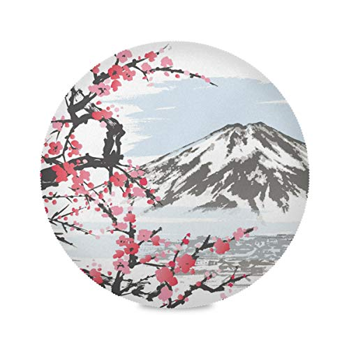 XiangHeFu Art Pattern Mountain Cherry Blossoms Sets de Table Ronds 39x39cm antidérapants résistants à la Chaleur pour Table à Manger 6 Piece