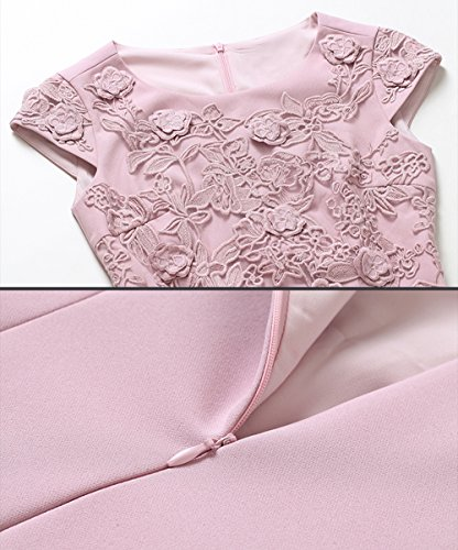 Women's Scoop Neck AX Paris Pink Lace Embroidered Bodycon Cocktail Mini Dress