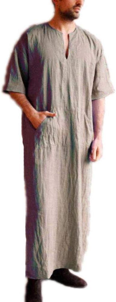 Uziqueif Men's Kaftan V-Neck Robe, Short Sleeve, Saudi Arabian, Islamic Muslim, Dubai Robe with Pocket National Style Cotton and Linen,Khaki,M