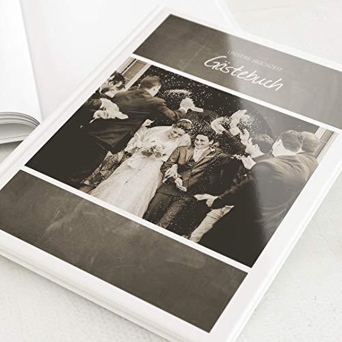 sendmoments Gästebuch zur Hochzeit, Hochzeits-Tafel, personalisiert mit Wunschbild, hochwertiges...