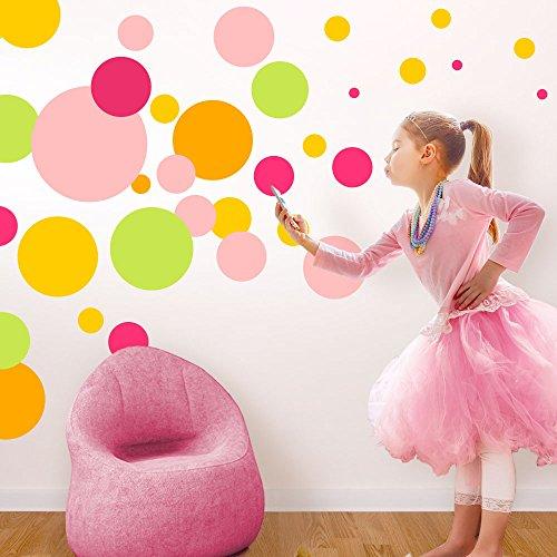 Wandaro Muurtattoo 42 gekleurde punten I 2-22 cm grootte I baby meisjes kleuterschool kinderkamer sticker cirkels wandsticker sticker W3415