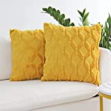 JOJUSIS Plush Short Wool Velvet Decorative Throw Pillow Covers Luxury Style Cushion Case Faux Fur Pillowcases for Sofa Bedroom Pack of 2 18 x 18 Inch Yellow