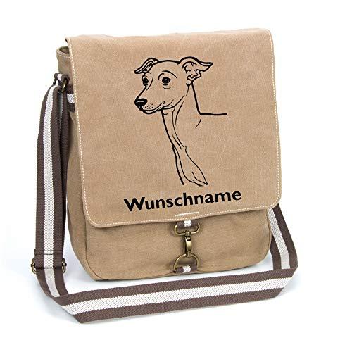 Italienisches Windspiel Italian Greyhound Schultertasche Umhängetasche Tasche mit Hundemotiv und Namen personalisiert