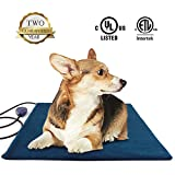 Pet Heating Pad Large,Electric Heated Dog Beds Pad,Dogs Cats Waterproof Adjustable Warming Mat with Chew Resistant Steel Cord,Soft Removable Cover,Overheating Protection(Square 50cm, Blue) …