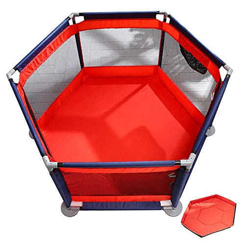 QULONG Parque Infantil Plegable con colchón de Seguridad para bebés con Puerta Centro de Actividades Malla Hexagonal Niños pequeños Regalos del día de la Madre para mamá y bebé