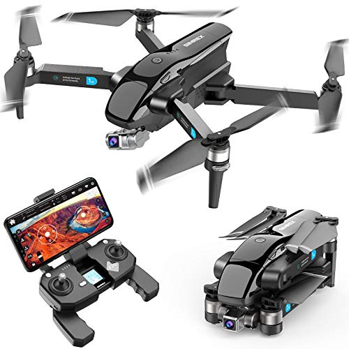 SIMREX X20 GPS Drone with 4K HD Camera 2-Axis Self stabilizing Gimbal 5G WiFi FPV Video RC Quadcopter Auto Return Home with Follow Me Altitude Hold Headless Brushless Motor Remote Control (Black)