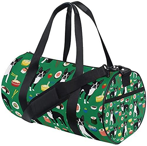 Gym Duffel Bag Boston Terrier Dog Green Training Duffle Bag Bolsas Deportivas de Viaje Redondas para Hombres y Mujeres