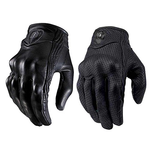 Tracffy Touchscreen Vollfinger Motorrad Leder Handschuhe Herren Premium Fahrrad Reiten Racing Schutzausrüstung Motocross Handschuhe - Kein Loch
