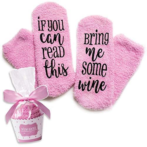 Amkun Weihnachtsstrümpfe 3D-Cartoon-Design, rutschfeste Socken, Weihnachtsmann-Geschenk Gr. One size, Wine-pink