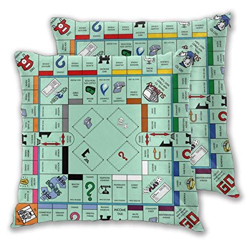 Granbey 2 PCS Monopoly Game Map Throw Pillow Covers Game Player Pillowcase Game Theme Pillows Set Populer Game Cotton Pillows Case with Zipper Men Boys Teens Bedroom Sofa Cushion Pillows Sets 18x18