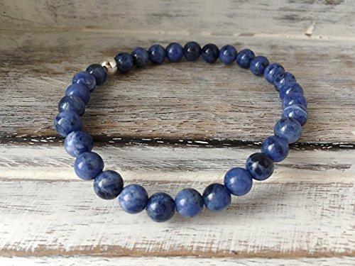 LOVEKUSH Positive Energy 6mm Stretchable Blue Sodalite Bracelet Round, Smooth 7' for Mens, Womens, gf, bf & Adult.