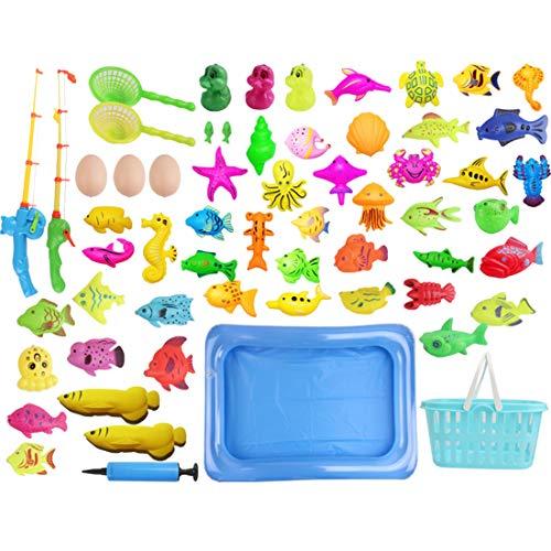 MAJOZ0 60 Stück Angeln Spielzeug ,Badespielzeug, Badewannenspielzeug ,Wasserspielzeug ,Perfekt Lernspiel Geschenk für Kinder