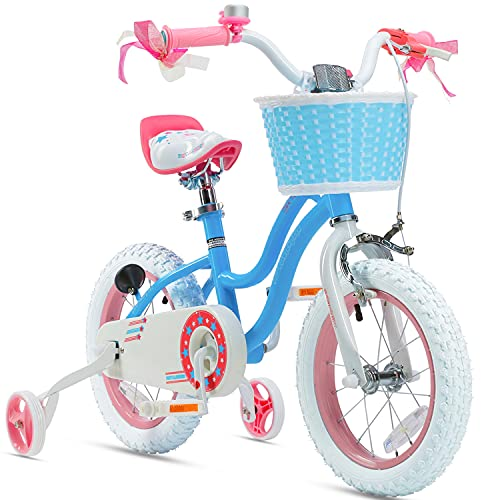 Product Image of the Royalbaby Stargirl Girls Bike with Training Wheels and Basket, Best Gifts for...