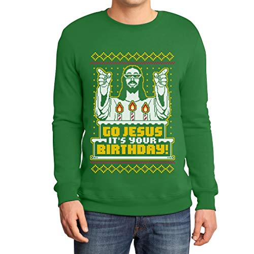Shirtgeil Maglione Brutto di Natale per Lui - Go Jesus It's Your Birthday Felpa da Uomo X-Large Verde