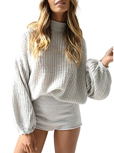 ★Material:acrylic,lightweight.A little stretchy,soft and comfortable,make you feel better all th day ★knitted pullover features cowl neck, cozy baggy style cute jumpers,slightly exaggerated lantern long sleeve,cable knit solid crop top sweater ★Easy ...