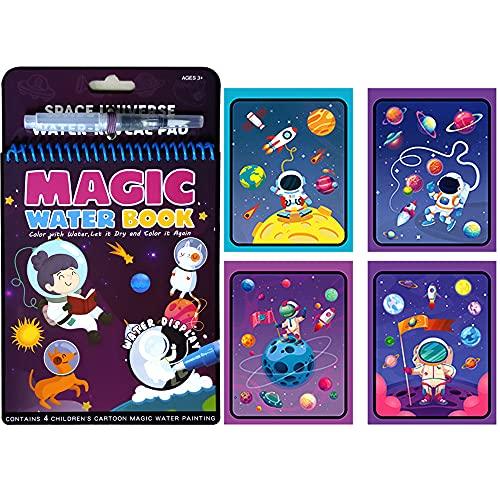 Autoau Magic Water Drawing Book Libro da colorare Acqua Doodle con Magic Pen Painting Board per Bambini Istruzione Drawing Toy (Mondo cosmico)