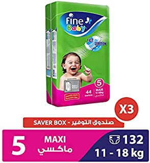 Fine Baby Diapers Green Fast Sorption, Maxi 11-18 Kgs, Jumbo Pack, 132 Count