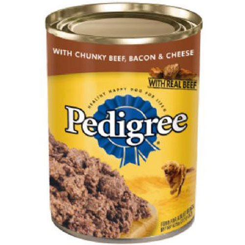 Pedigree Wet Dog Food, Chunky Beef, Bacon and Cheese, (12) 22 Oz