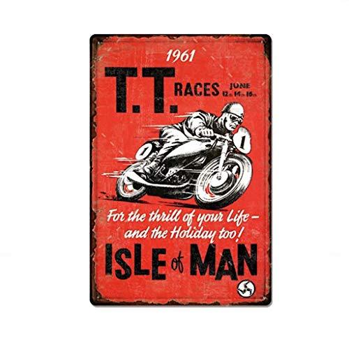 Placa De Metal Para Moto Racer Vintage