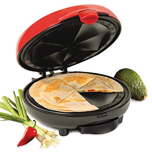 Nostalgia 6-Wedge Electric Quesadilla Maker with Extra Stuffing Latch, 8-inch, Red