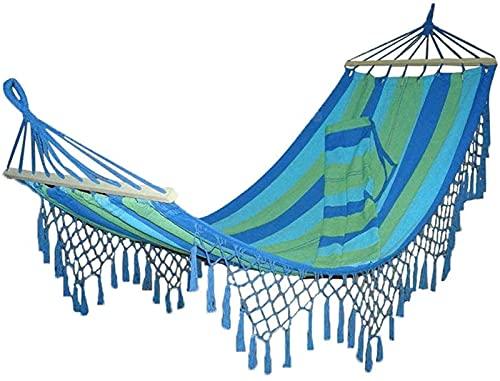 hammock Tienda al aire libre, hamaca portátil Hamaca de algodón Viajes de lona de algodón Camping con palitos de madera Antirollaver Tassel Hammock Muebles de exterior Hamaca Viaje ( Color : Blue )