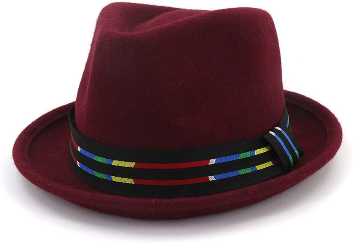 Ruiyue Fedora Lady Trilby Homburg Pure Wool Hat color Striped Jazz Small Hat for Women Men