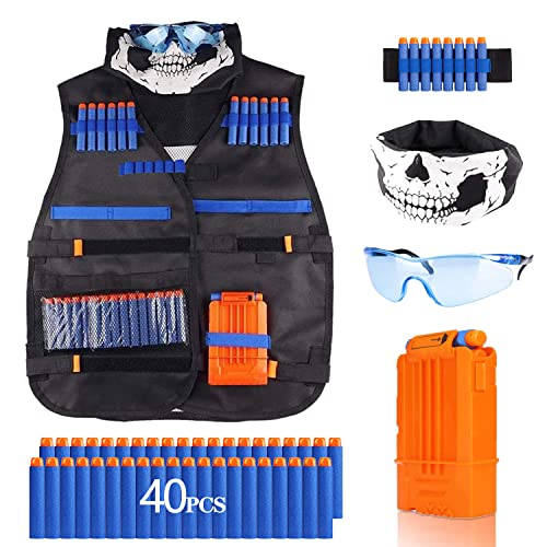 Funklu Kit de Chaleco Táctico para Niños, Chaleco Táctico para Niños para Pistolas Nerf N-Strike Elite