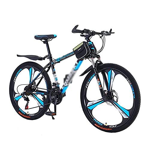 FBDGNG Bicicleta de montaña 26 en bicicleta de montaña 21 velocidades freno de disco dual MTB para niños y niñas hombres y mujeres con marco de acero al carbono (tamaño: 24 velocidades, color: azul)