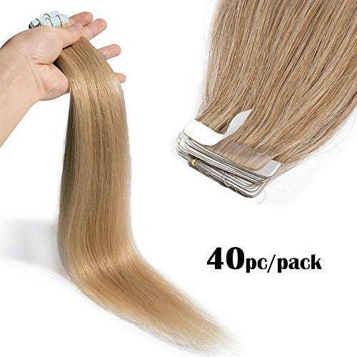 TESS Tape Extensions Echthaar Klebeband Haarverlängerung Remy Human Hair günstig 40 Tressen x 4 cm 100g-60cm(#27 Dunkelblond)