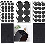 VIWIEU Non Slip Furniture Pads EVA Foam Furniture Feet Grippers 92PCS, 4mm Thick Self Adhesive Desk Chair Legs Covers Hardwood or Laminated Floor Protectors, Anti Scratch Cabinet Door Bumpers (Black)