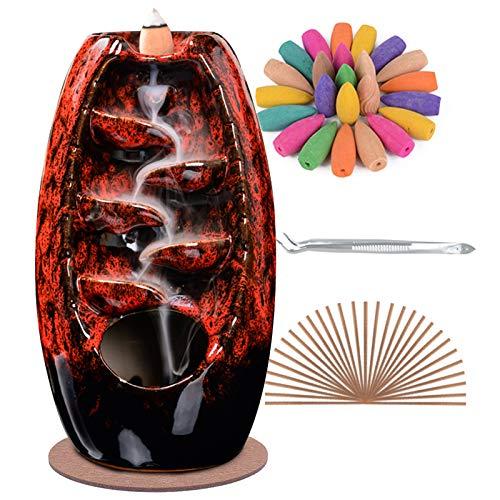 SPACEKEEPER Rückfluss Räuchergefäß Halter Wasserfall, Keramik Aromatherapie Ornament Wohnkultur Räucherstäbchenhalter mit 120 Rückfluss Räucherkegel + 30 Räucherstäbchen, Rot