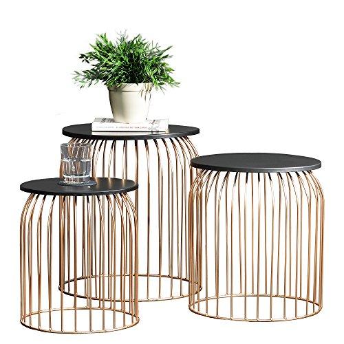[en.casa] Set de 3 cestas de Metal Elegantes de diseño - Mesa Auxiliar/Mesa de Centro Metal - Color Cobre
