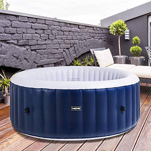 WAVE Spa Swift Rigid Foam Hot Tub - Rattan Inflatable Hot Tub, A Portable Inflatable Quick Heating Square Hot Tub Spa Indoor/Outdoor Bubble Jacuzzi plus powerful Heater/Compressor, Up to 4 Persons…