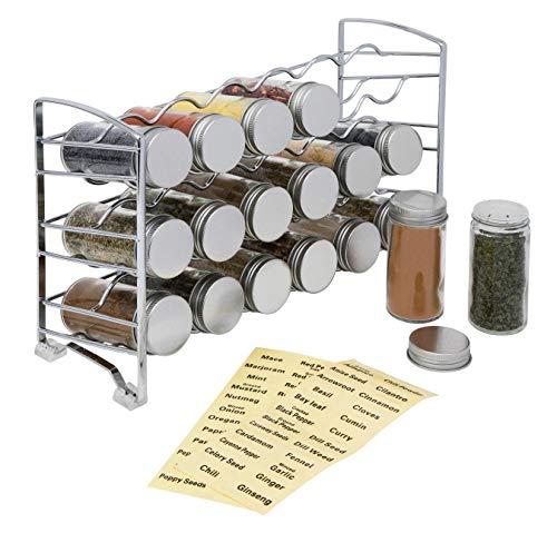Amtido - Estante para especias con 18 botes de cristal vacíos y 48 etiquetas para especias