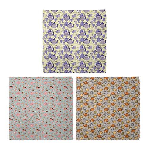 ABAKUHAUS Unisex Bandana, Gestreifte Teekannen Becher Blumen und Cupcakes Gedämpfte Töne Kunst, 3er Pack, Mehrfarbig