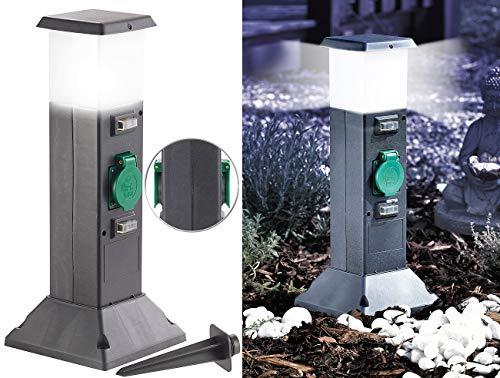 Royal Gardineer Gartensteckdose: 2-fach-Garten-Steckdose mit Beleuchtung, Spritzwasserschutz IP44 (Gartensteckdose mit Licht)