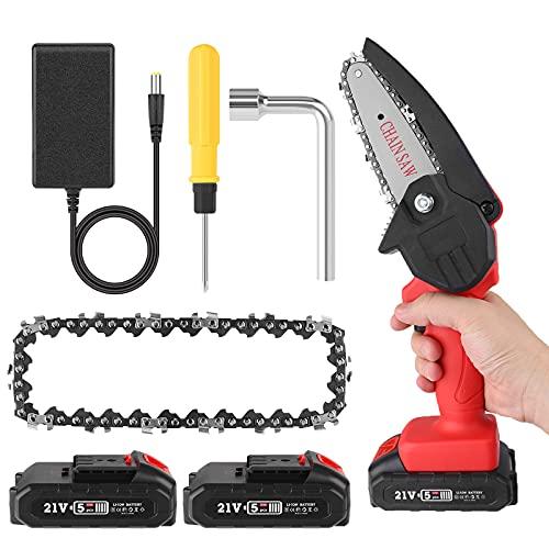 Mini motosierra eléctrica, batería de 4 pulgadas, con motor de cadena de batería sin escobillas de 1 pieza, 0,7 kg, ligera de una sola mano con tijeras de podar para cortar ramas (black1)