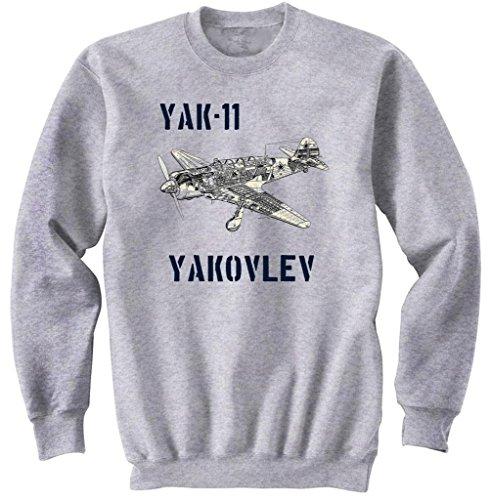 teesquare1st Men's YAK-11 YAKOLEV Grey Sweatshirt Size XXLarge
