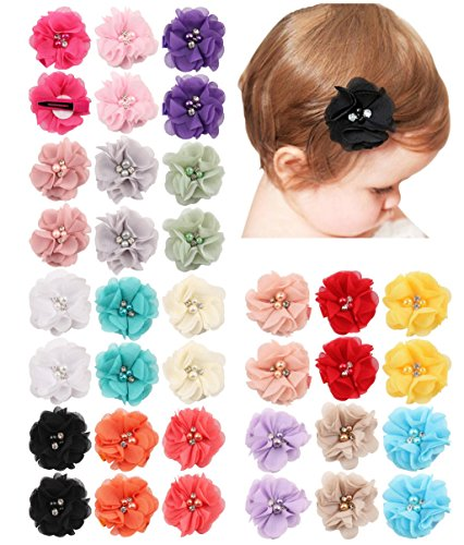 QandSweet 36 Pack Baby Girls Hair Clips with Hand-Sewn Beads Flower Girl Teens Kids Toddlers