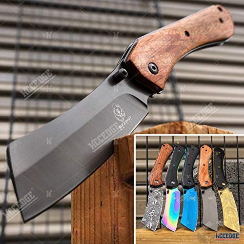 EDC Pocket Knife Camping Accessories Razor Sharp Edge Cleaver Blade Folding Knife for Camping Gear Survival Kit 58649 (Wood Brown)