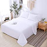 Agedate 4 Piece Brushed Microfiber Bed Sheets Set, Deep Pocket Bed Sheets Queen, Hypoallergenic, Easy to Care, Fade, Stain and Wrinkle Resistant, Queen Size, White