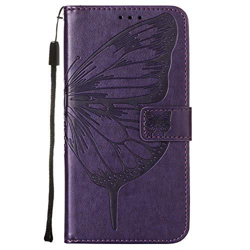 NEINEI Flip Folio Hülle für Xiaomi Mi 11 5G,PU/TPU Lederhülle Klapptasche Handytasche mit Kartenfächer,3D Schmetterling und Blume Muster Schutzhülle Handyhülle,Lila