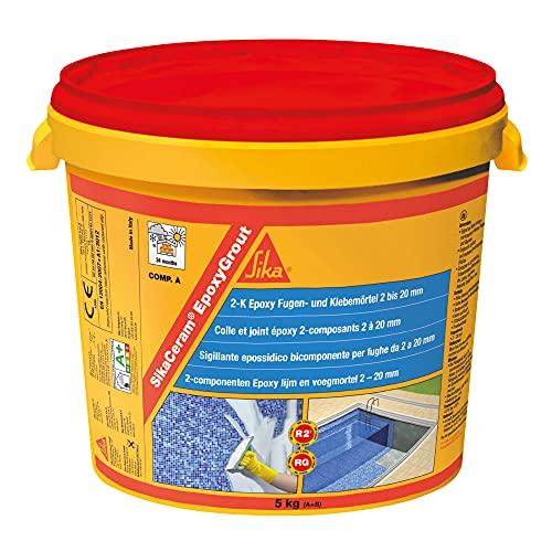 SikaCeram EpoxyGrout, Nieve, Mortero de rejuntado epoxi, de alta resistencia, para baldosas y azulejos con espesores de 2 a 20 mm, para paredes y suelos interior y exterior, 5kg