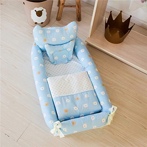 AZYJBF Cuna de Viaje de Bebé Recién Nacido, Cama Nido Portátil, Cama Biónica del Bebé de Algodón, Transpirable, Super Suave, para Dormir,Azul