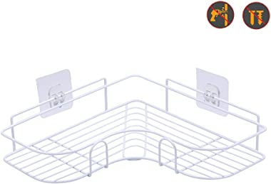 Laigoo Adhesive Shower Corner Shelf, Metal Shower Caddy Bathroom Shelf Non-Drilling Floating Shelf for Kitchen/Bathroom Organizer and Storage (2 Pack, White)