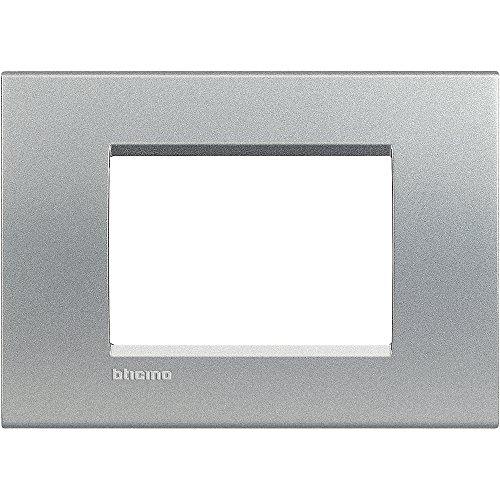 BTicino Livinglight Placca, 3 Moduli, Forma Rettangolare, Grigio (Tech)