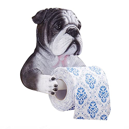 Toilet Paper Holder Funny Dog Design End Wall-Mounted Single Toilet Paper Roll Dispenser Bathroom Accessories Towel Rack Adhesive Toilet Paper Holder ( Color : Black )