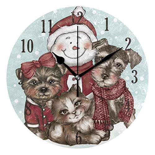 Reloj de Pared Redondo,25cm Decorativo de la Pared Relojes ,Silenciosos de Cuarzo Que Funcionan con Pilas Reloj Colgante (Muñeco de Nieve navideño con Mascotas para Perros)