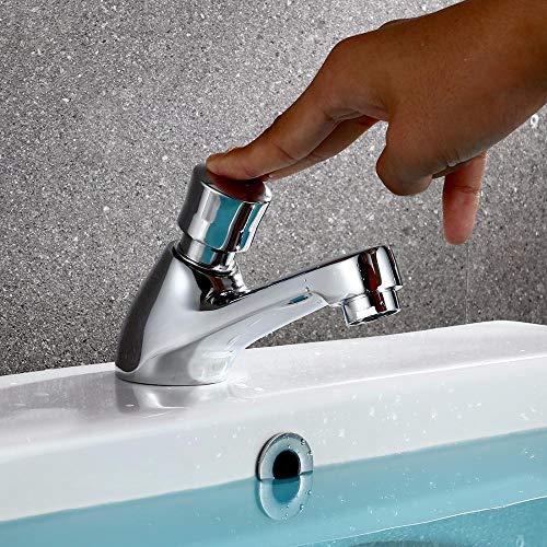 Grifo de latón con retardo de tiempo, prensa táctil, autocierre automático, grifo de ahorro de agua fría para grifo de baño público