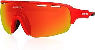 Queshark Gafas de sol para ciclismo, 1 lentes polarizadas con 3 lentes de colores antirrayos UV, para hombre, ultraligeras